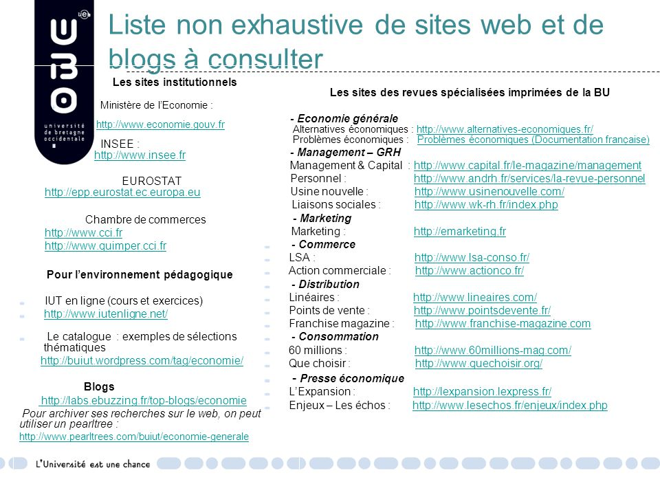 Liste non exhaustive de sites web et de blogs à consulter
