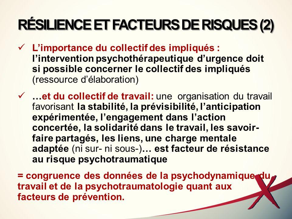 RÉSILIENCE ET FACTEURS DE RISQUES (2)