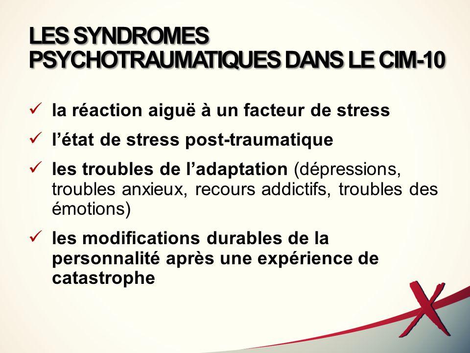 LES SYNDROMES PSYCHOTRAUMATIQUES DANS LE CIM-10