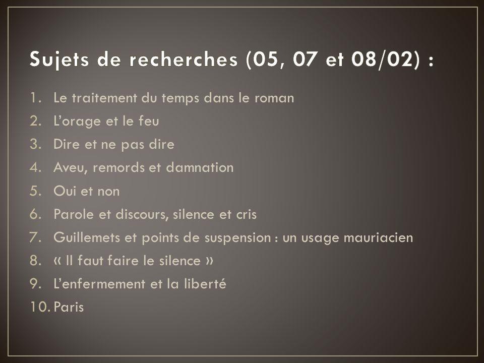Sujets de recherches (05, 07 et 08/02) :