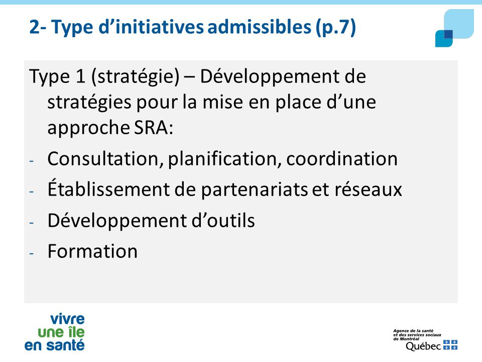 2- Type d'initiatives admissibles (p.7)