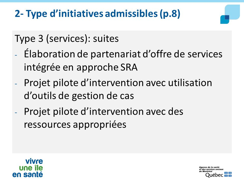2- Type d'initiatives admissibles (p.8)