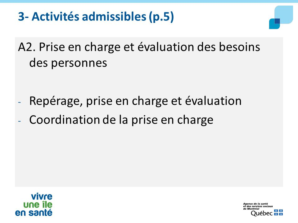 3- Activités admissibles (p.5)
