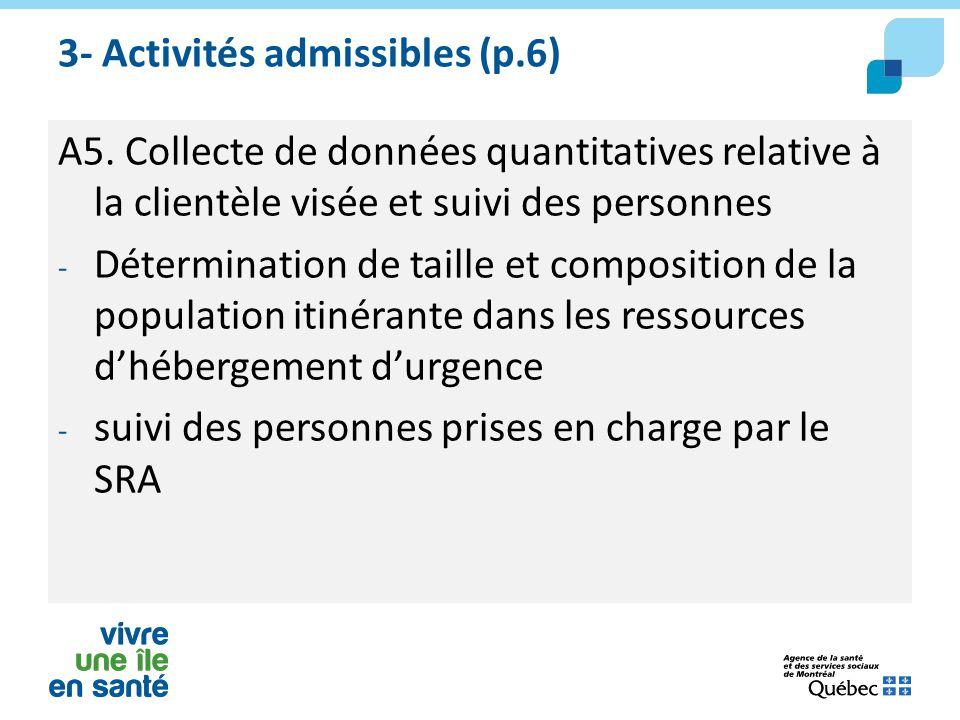 3- Activités admissibles (p.6)