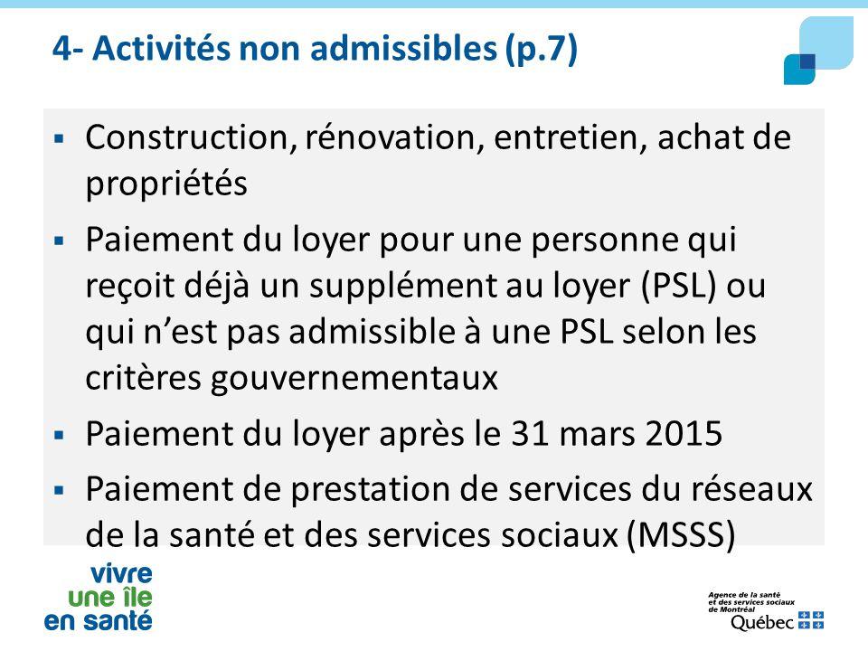 4- Activités non admissibles (p.7)