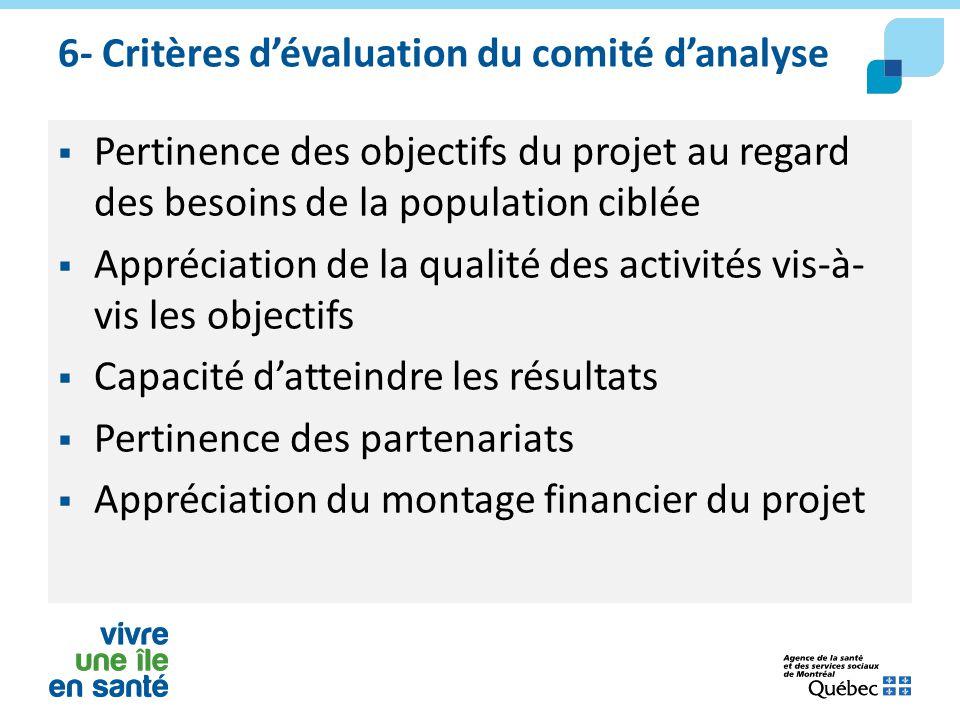 6- Critères d'évaluation du comité d'analyse