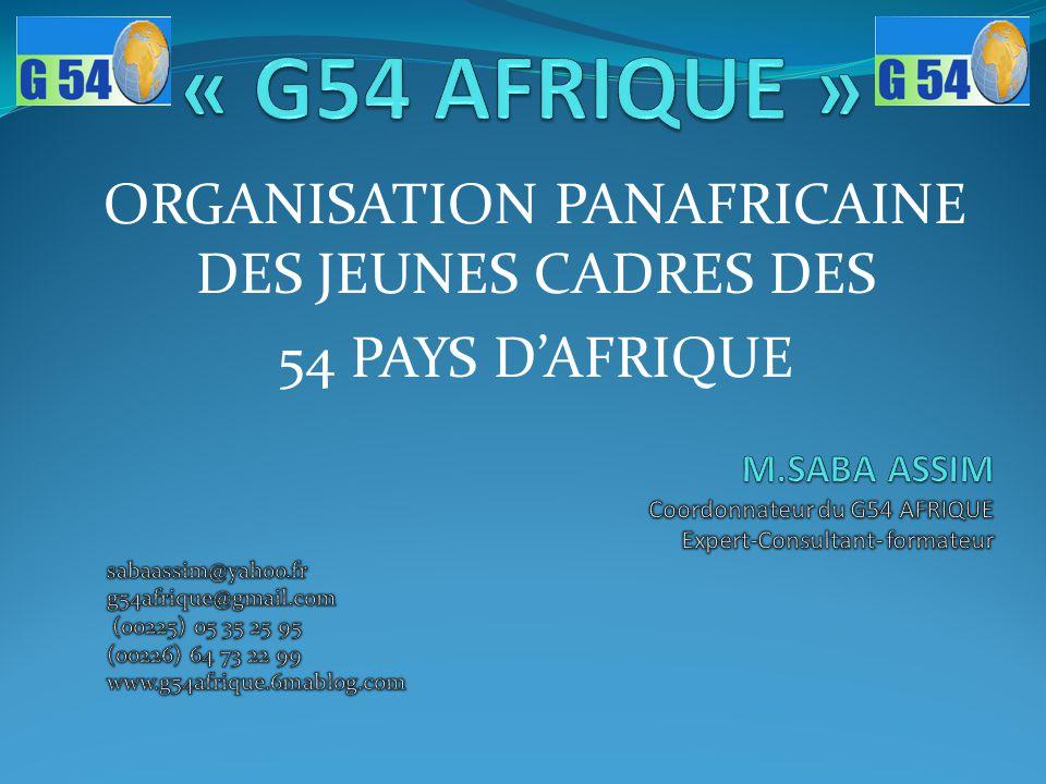 ORGANISATION PANAFRICAINE DES JEUNES CADRES DES 54 PAYS D'AFRIQUE