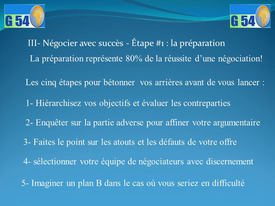 III- Négocier avec succès - Étape #1 : la préparation