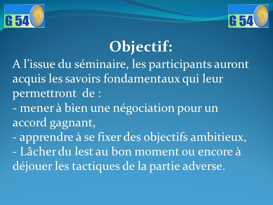 Objectif: A l'issue du séminaire, les participants auront acquis les savoirs fondamentaux qui leur permettront de :
