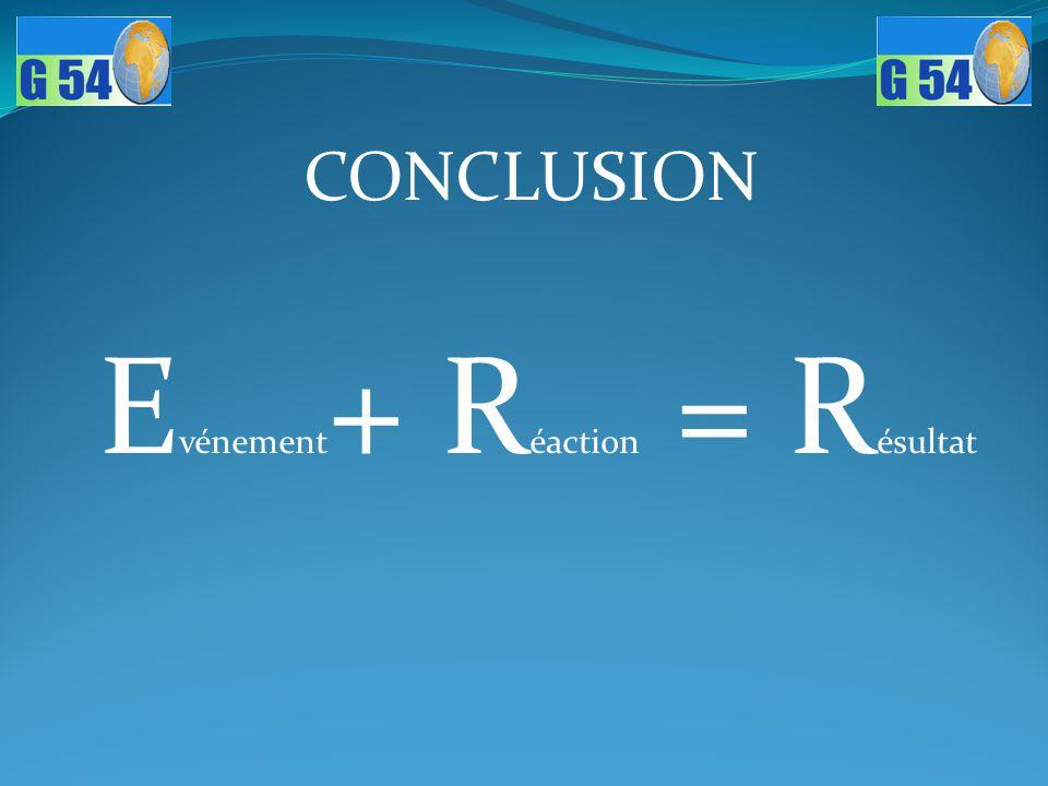 Evénement+ Réaction = Résultat