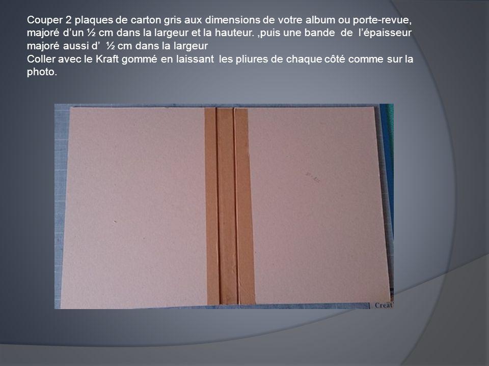 Couper 2 plaques de carton gris aux dimensions de votre album ou porte-revue, majoré d'un ½ cm dans la largeur et la hauteur.