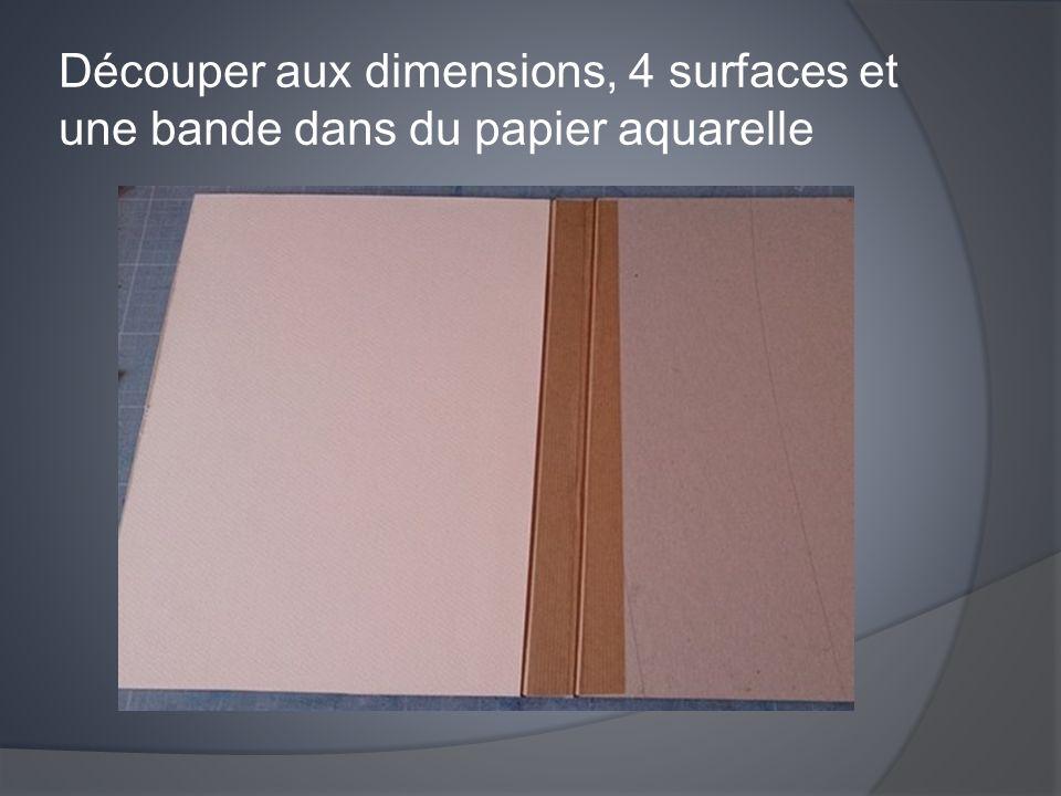 Découper aux dimensions, 4 surfaces et une bande dans du papier aquarelle