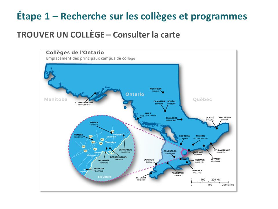 Étape 1 – Recherche sur les collèges et programmes
