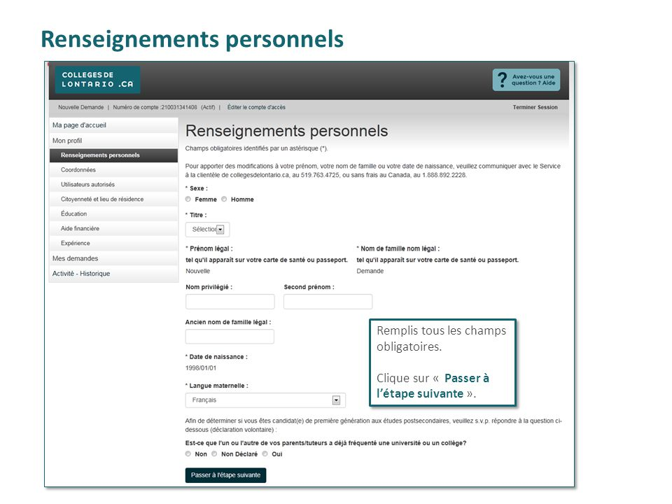 Renseignements personnels