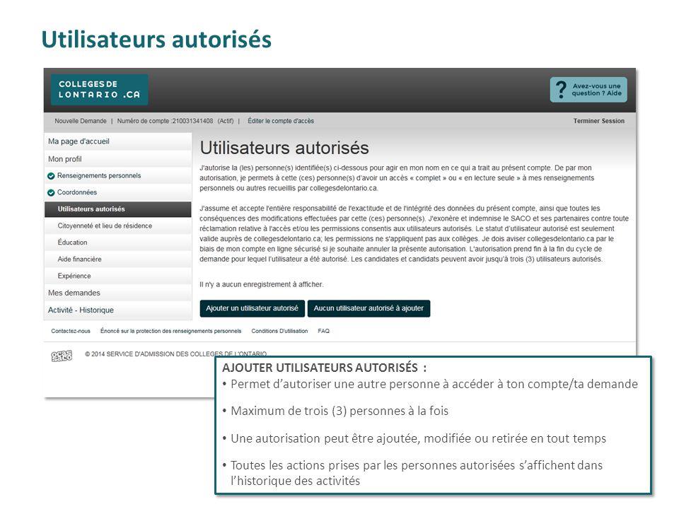 Utilisateurs autorisés