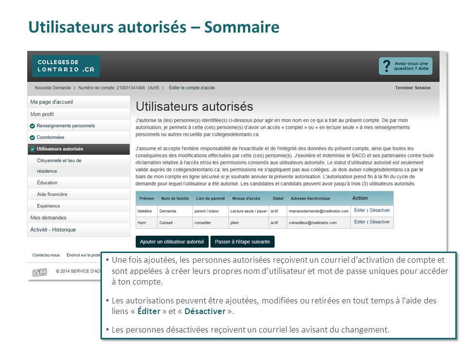 Utilisateurs autorisés – Sommaire