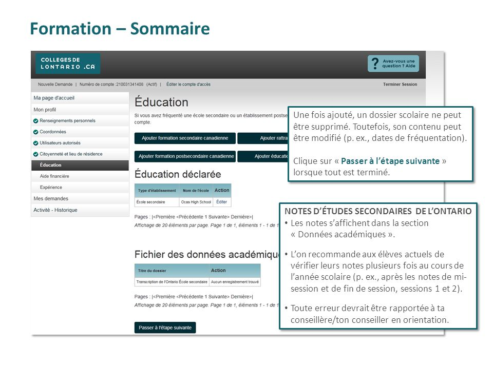 Formation – Sommaire