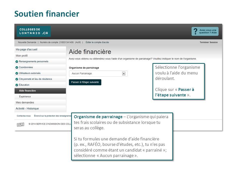 Soutien financier Sélectionne l'organisme voulu à l'aide du menu déroulant. Clique sur « Passer à l'étape suivante ».