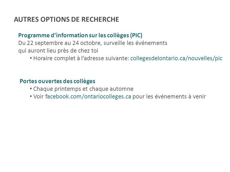 AUTRES OPTIONS DE RECHERCHE
