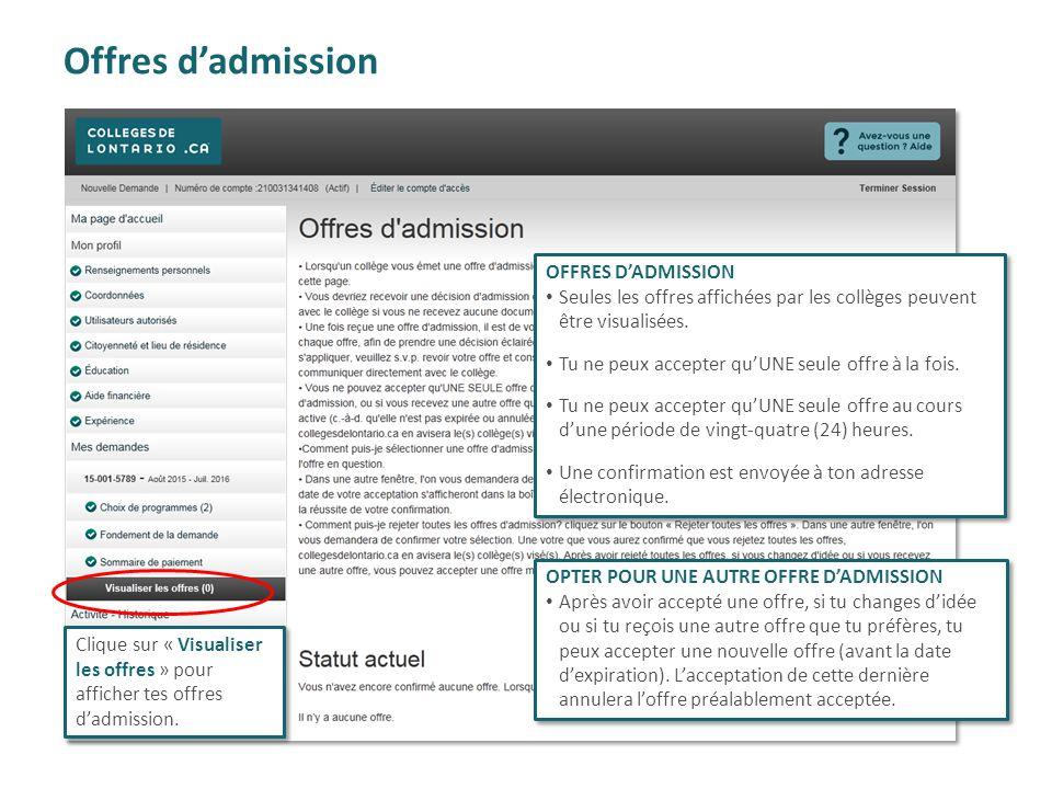 Offres d'admission OFFRES D'ADMISSION