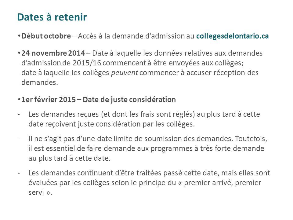 Dates à retenir Début octobre – Accès à la demande d'admission au collegesdelontario.ca.