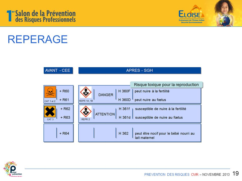 REPERAGE 19 PREVENTION DES RISQUES CMR – NOVEMBRE 2013