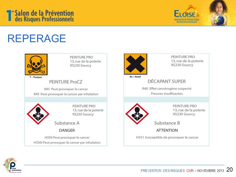 REPERAGE 20 PREVENTION DES RISQUES CMR – NOVEMBRE 2013