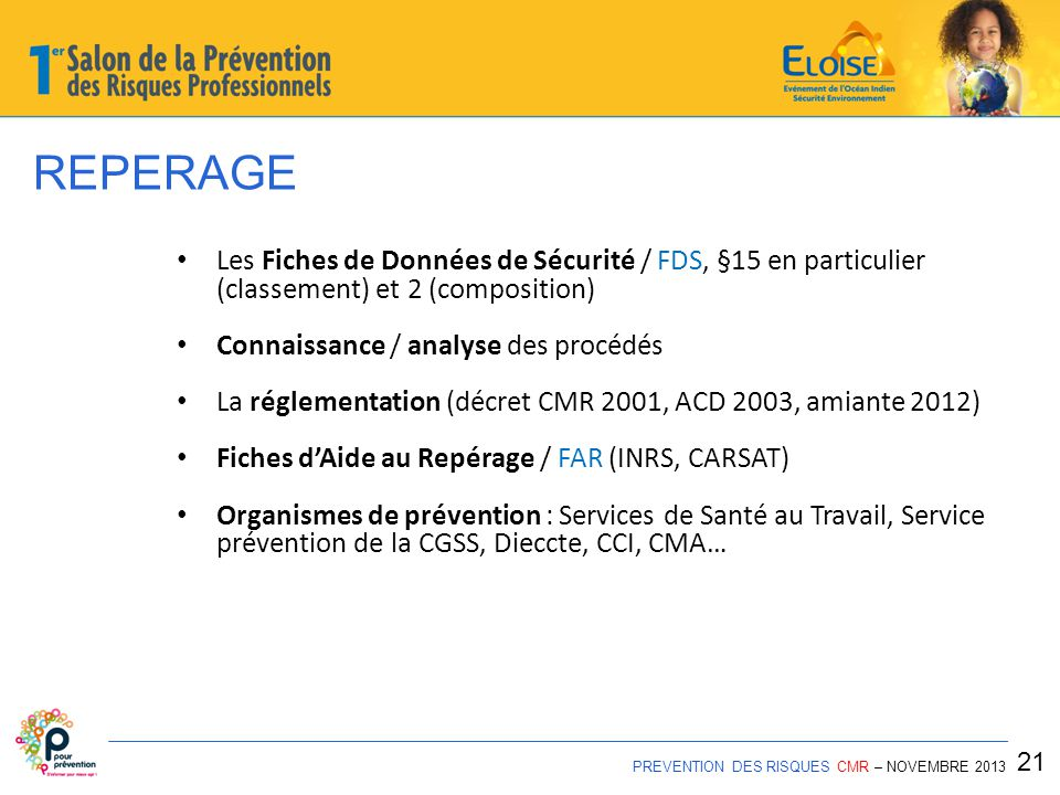 REPERAGE Les Fiches de Données de Sécurité / FDS, §15 en particulier (classement) et 2 (composition)