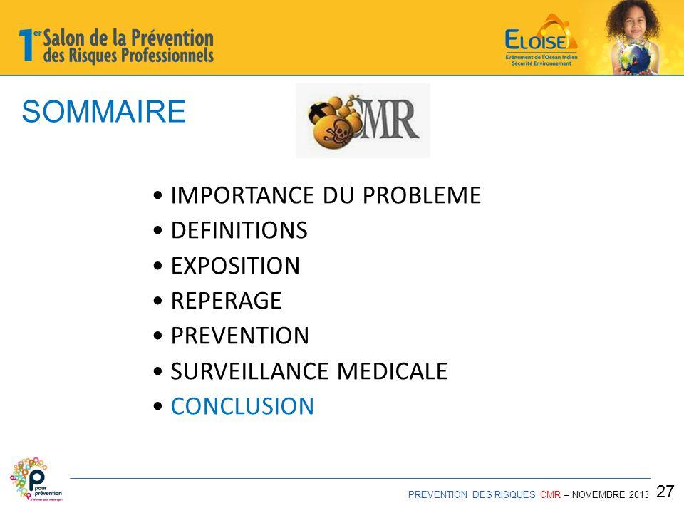 SOMMAIRE • IMPORTANCE DU PROBLEME • DEFINITIONS • EXPOSITION