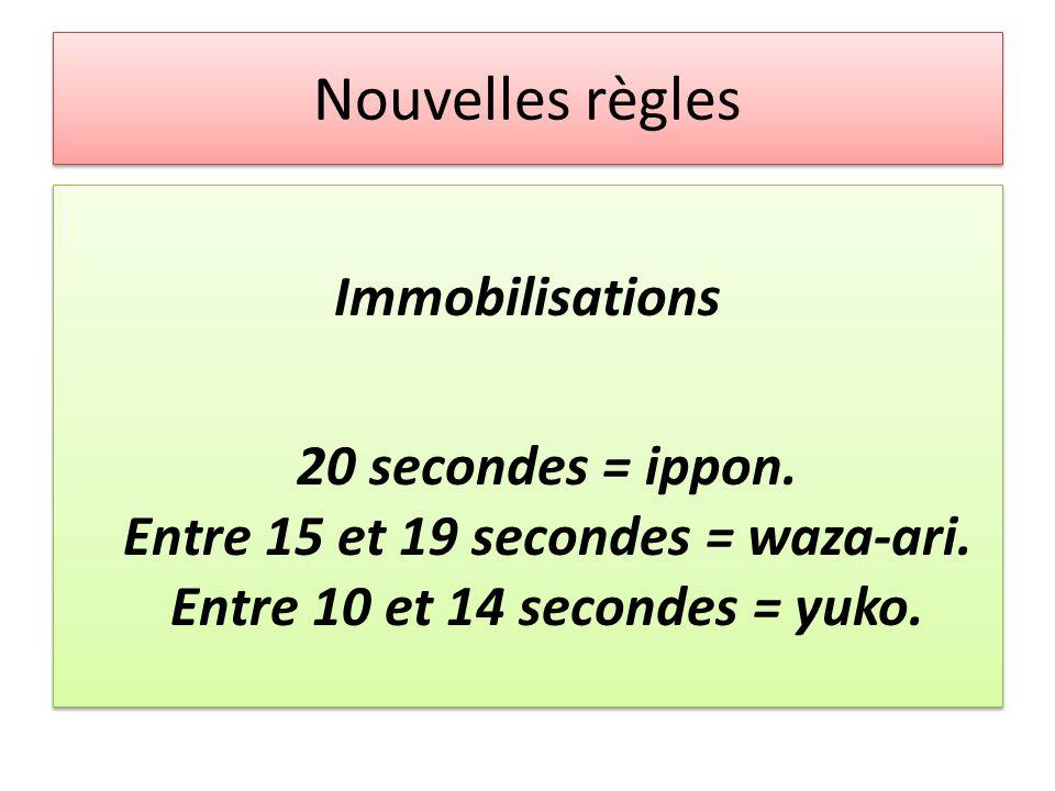 Nouvelles règles Immobilisations 20 secondes = ippon.