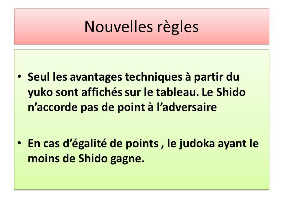 Nouvelles règles Seul les avantages techniques à partir du yuko sont affichés sur le tableau. Le Shido n'accorde pas de point à l'adversaire.