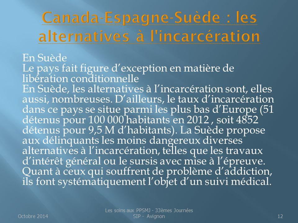 Canada-Espagne-Suède : les alternatives à l incarcération