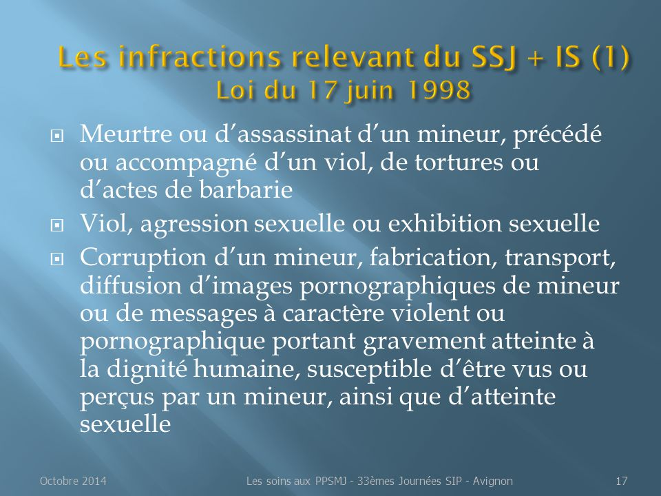 Les infractions relevant du SSJ + IS (1) Loi du 17 juin 1998