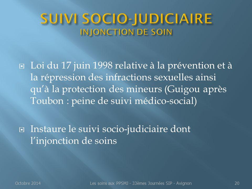 SUIVI SOCIO-JUDICIAIRE INJONCTION DE SOIN