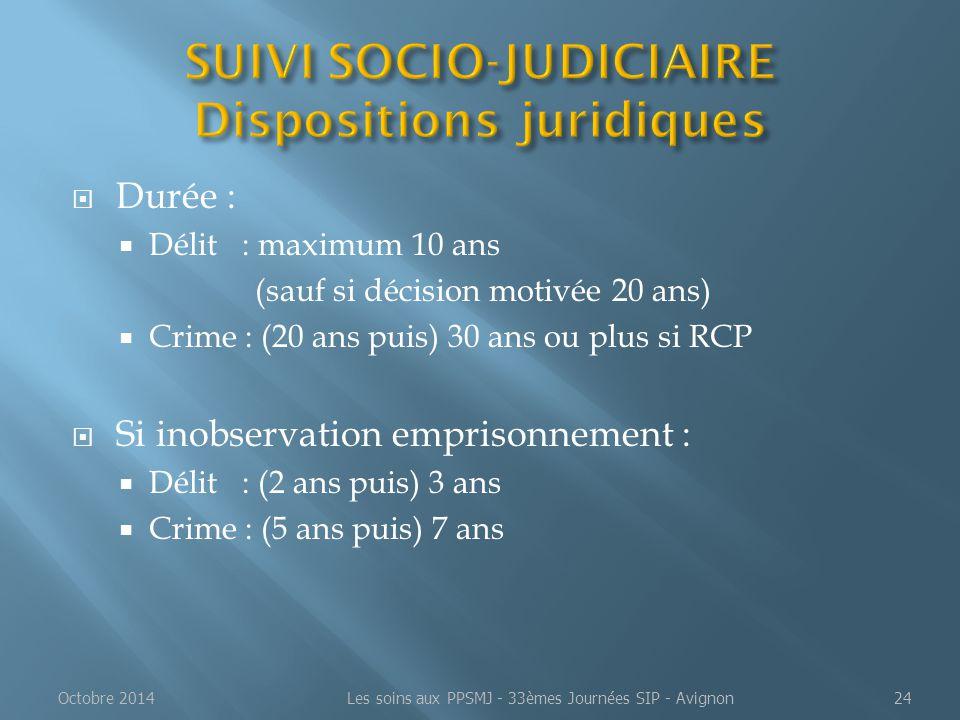 SUIVI SOCIO-JUDICIAIRE Dispositions juridiques