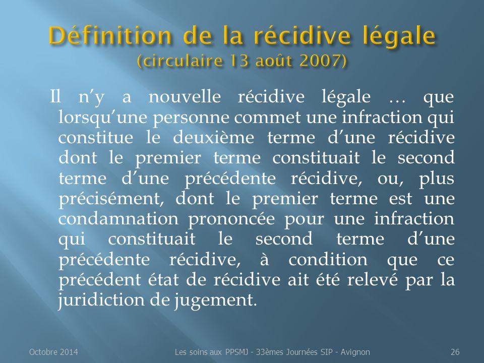 Définition de la récidive légale (circulaire 13 août 2007)