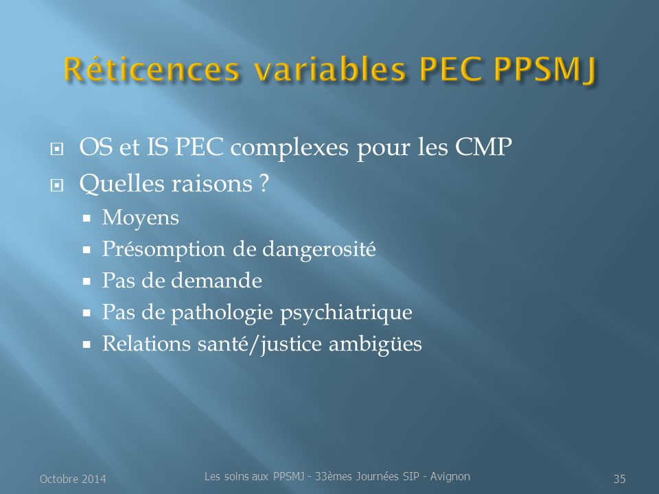 Réticences variables PEC PPSMJ