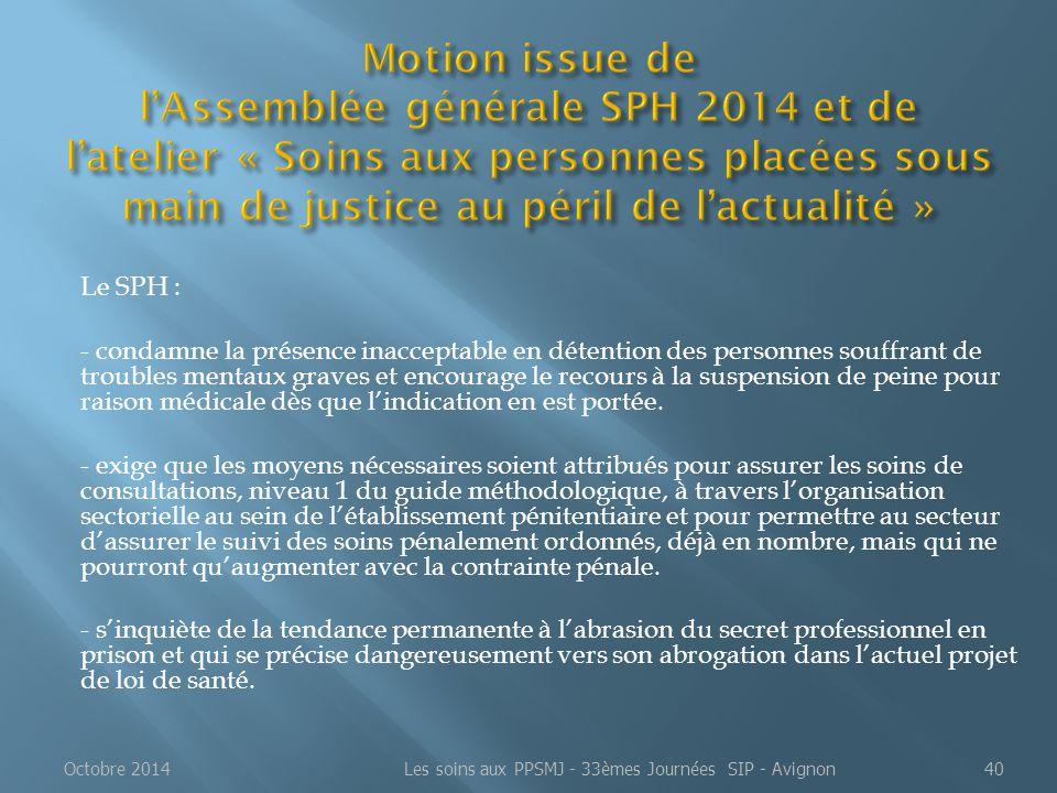 Les soins aux PPSMJ - 33èmes Journées SIP - Avignon