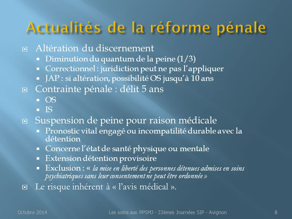 Actualités de la réforme pénale