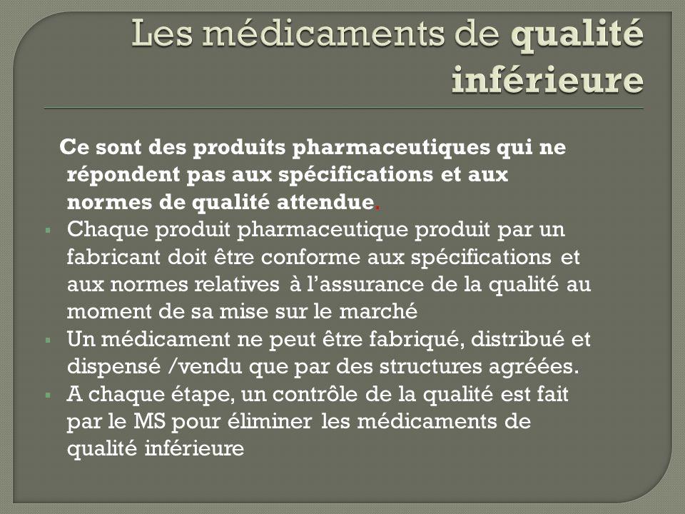 Les médicaments de qualité inférieure