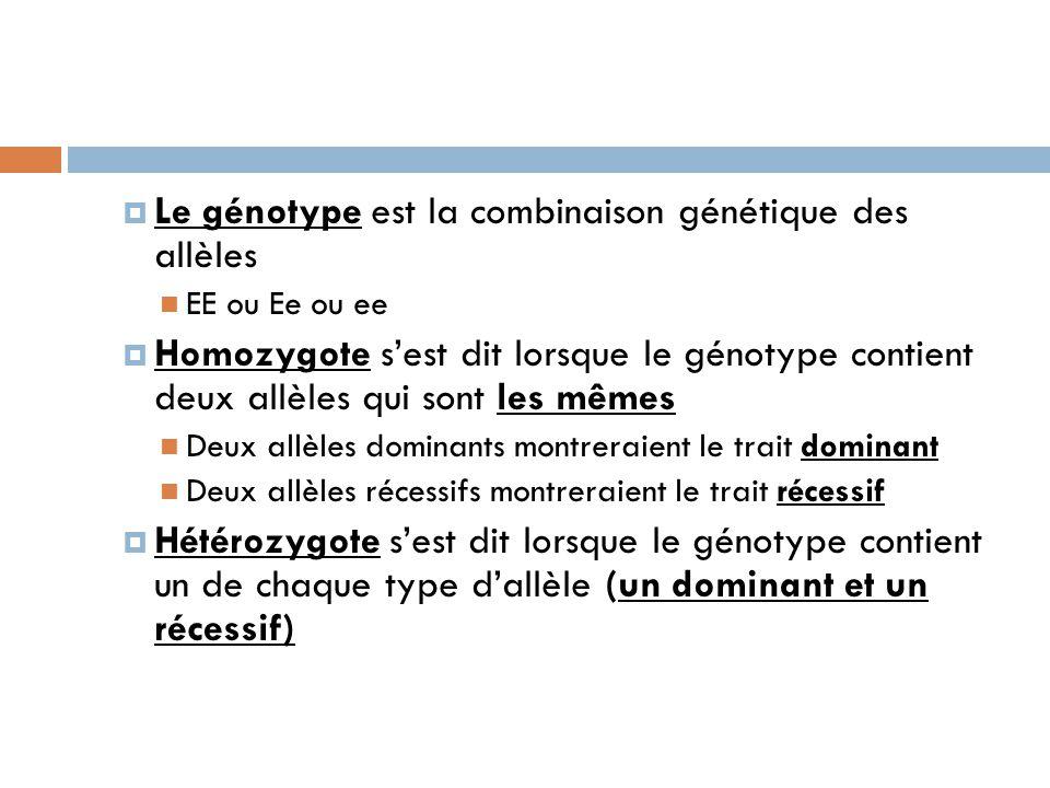 Le génotype est la combinaison génétique des allèles