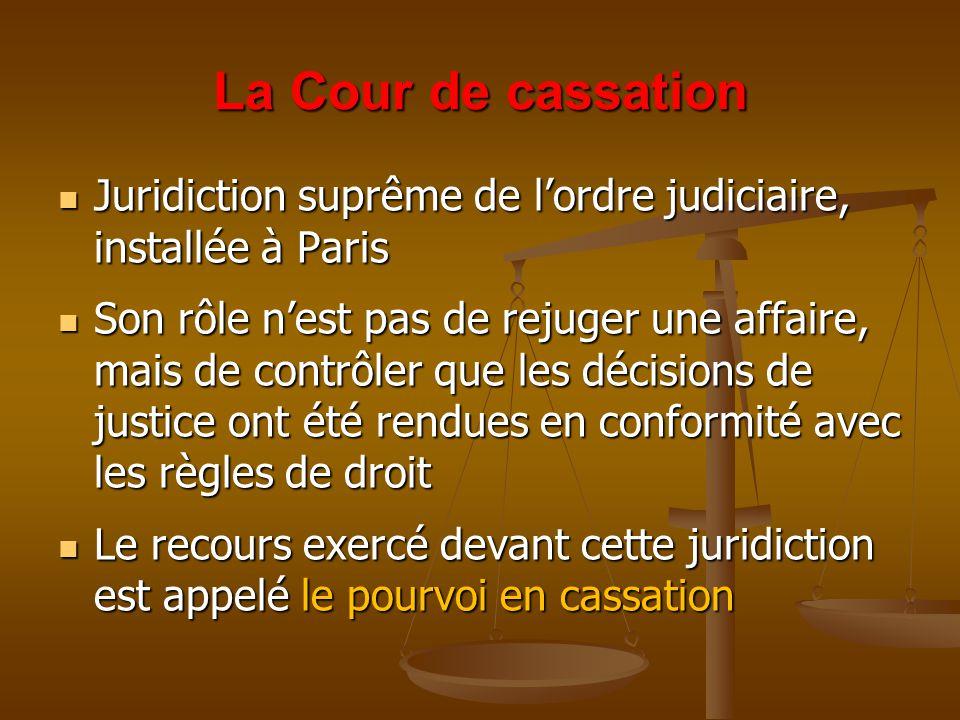 La Cour de cassation Juridiction suprême de l'ordre judiciaire, installée à Paris.