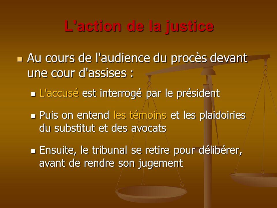 L action de la justice Au cours de l audience du procès devant une cour d assises : L accusé est interrogé par le président.