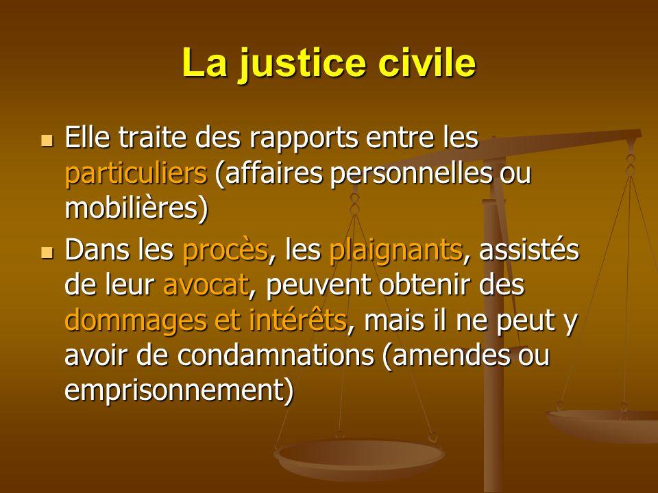La justice civile Elle traite des rapports entre les particuliers (affaires personnelles ou mobilières)
