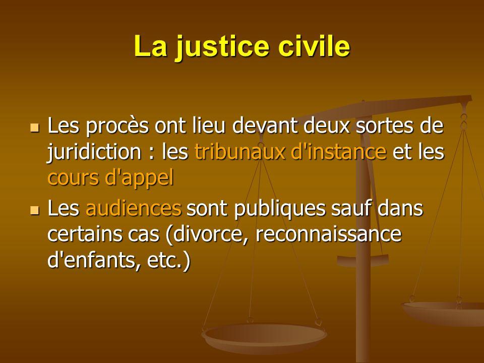 La justice civile Les procès ont lieu devant deux sortes de juridiction : les tribunaux d instance et les cours d appel.