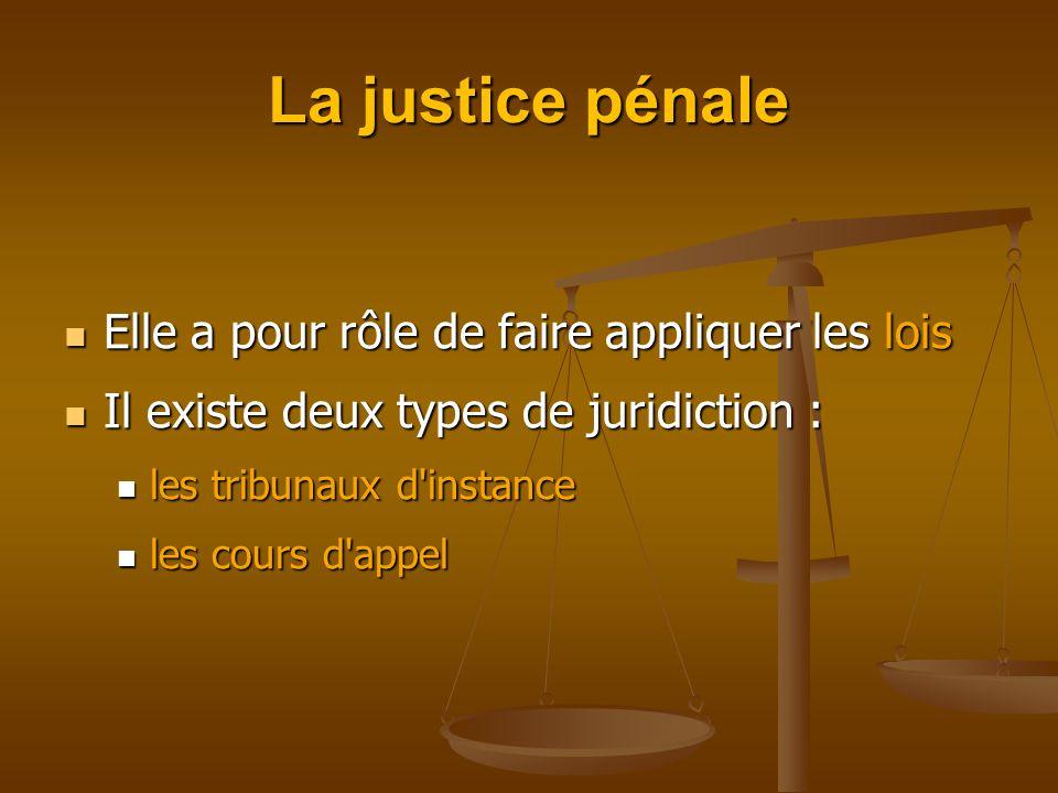 La justice pénale Elle a pour rôle de faire appliquer les lois