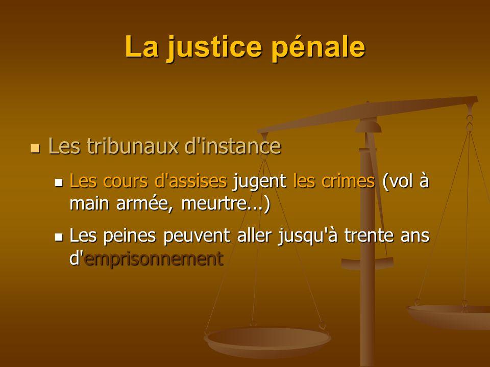 La justice pénale Les tribunaux d instance