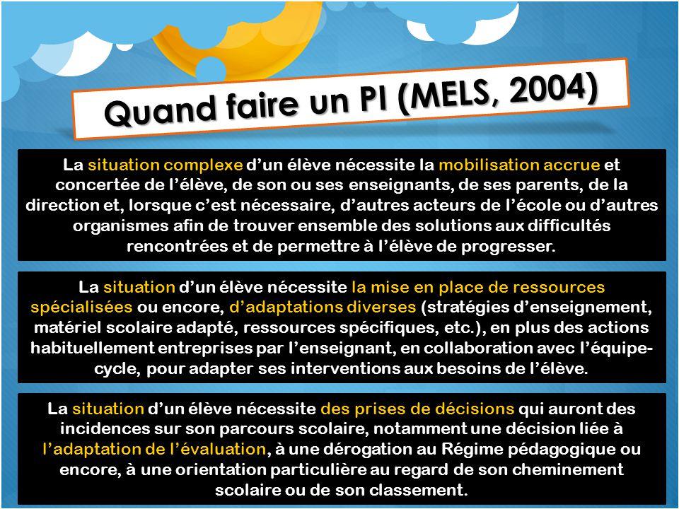 Quand faire un PI (MELS, 2004)