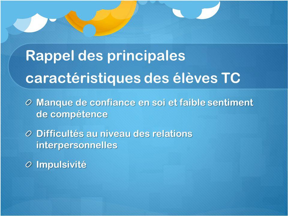 Rappel des principales caractéristiques des élèves TC