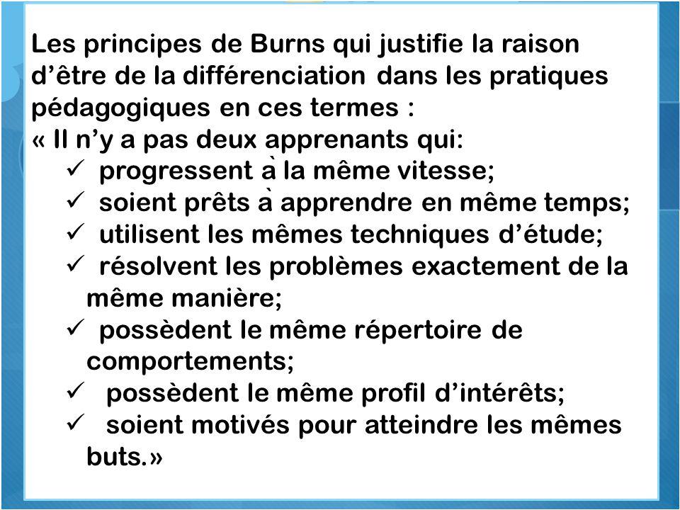 Les principes de Burns qui justifie la raison d'être de la différenciation dans les pratiques pédagogiques en ces termes :